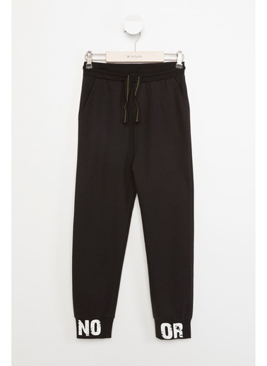 DeFacto Elastik Belli Arkası Baskılı Slim Fit Jogger Pantolon Siyah